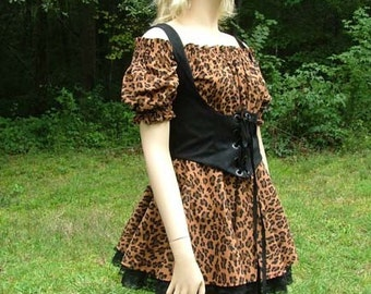 A299     Leopard Ensemble  Blouse, Vest, Skirt, & Panties  Halloween Costume Women's Size 6/8 Ready To Ship