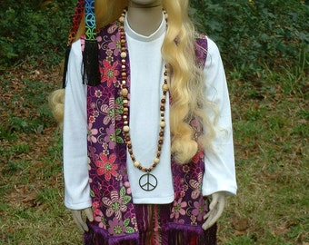 A064  Ready To Ship  Girls Groovy Hippie Costume Girl's 8