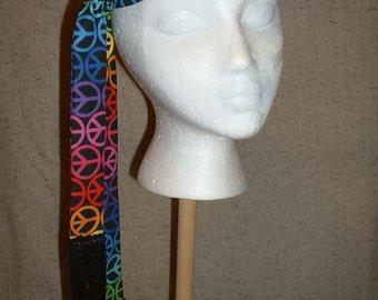 A172     Groovy Peace Sign Hippie Headband 1  Ready To Ship