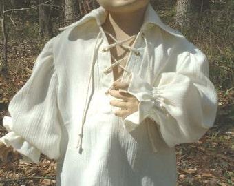 C064   Pirate Renaissance Shirt Lace Up Front Child's Sizes