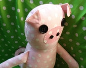 KarmaCat Custom Stuffed PLUSH PIG Rag Doll Toy -- you choose fabric and features