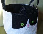 KarmaCat Custom TUXEDO CAT BASKET - Kitty Fabric Storage Cube - you pick colors