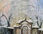Winter MADE2ORDER Original Oil Painting Palette Knife Morning Winter White Foggy Gates yard  Handmade home office decor ART by Marchella