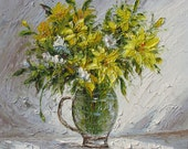Summer Gold  24 x 24 Original Oil Painting By Marchella Bouquet Vase Flowers Still Life Palette Knife Yellow Lilies