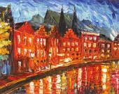 ORIGINAL Painting Textured Palette Knife Oil Painting Street Illusions 23 x 36 Cityscape Reflections Colorful Night Red ART by Marchella