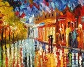 Original Oil Painting Handmade Home Large Textured MADE to ORDER Cityscape Reflections Umbrella Colorful Night Couple decor ART by Marchella