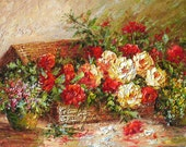 ORIGINAL Oil Painting Fall Blossom 23 x 36 Palette Knife Colorful Flowers Red White Basket Roses Vase Textured Big by Marchella