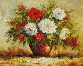 Oil on canvas Made to order Painting from original Palette Knife Colorful Flowers Red White Textured Romantic Floral Vase impasto Marchella
