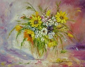 ORIGINAL Oil Painting Kiss Me Smile for Me 23 x 30 Palette Knife Texture Sunflowers Yellow Vase Purple Colorful Sunny ART by Marchella