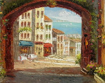 Original French Sea Village MADE2ORDER Oil Painting Palette Knife Handmade Home office decor colorful arch sun street wall ART by Marchella