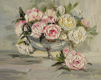 Original Made to Order Oil Painting Flowers roses white victorian romantic handmade texture pale Handmade Home decor office ART by Marchella