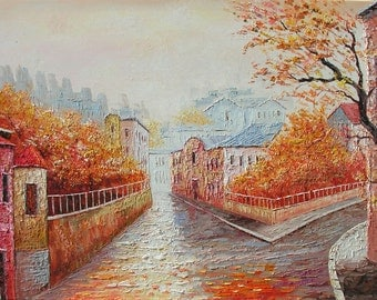 Original on canvas Painitng Cityscape Oil painting Palette Knife Street Town Foggy Rain Orange texture impasto gift ready ship ART Marchella