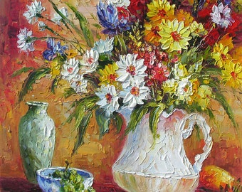 MADE to ORDER Original Oil Painting Palette Knife Colorful Bright Vase Flowers Arrangement Still lifeHandmade Home decor ART by Marchella