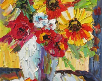 Original Oil Painting Palette Knife Colorful Flower Vase Bouquet Texture Sunflowers Roses Yellow Red Handmade ART by Marchella MADE to ORDER