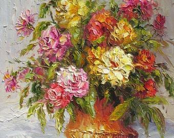 Rose Beauty 18 x 24 Original Oil Painting Palette Knife Vase Bouquet Textured Colorful Rosees Pink  Vase Bouquet  by Marchella