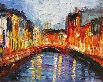 Original Oil Painting Palette Knife Cityscape MADE to ORDER Night Town Rainy Buildings Water Reflection Big Handmade decor ART by Marchella
