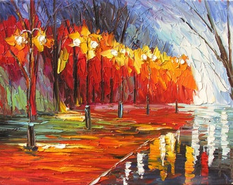 Original Oil Painting MADE to ORDER handmade Palette Knife Landscape Park Trees Red Alley Orange Mist Fog Fall by Marchella