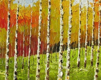 ORIGINAL impasto Oil Painting Palette Knife Colorful Landscape painting gift Park Trees Red Orange Yellow Birches textured canvas Marchella