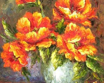 ORIGINAL Oil Painting Time for Joy 23 x 30 Palette Knife Colorful Bright Vase Flowers Arrangement Still life Orange Textured by Marchella