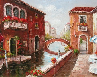 Original Oil Painting Italian MADE to ORDER Venice Canal Water Sunny Colorful Palette Knife handmade home decor big Texture ART by Marchella