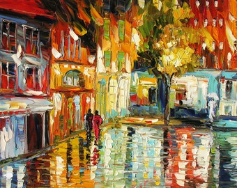 MADE to ORDER Original Oil Painting Palette Knife Cityscape Handmade Night Town Home decor office Building Reflection Rainy ART by Marchella