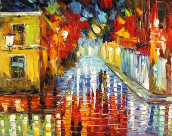 Original Oil Painting Palette Knife MADE to ORDER Cityscape Night Town Building Reflection Rainy Couple Handmade Home decor ART by Marchella