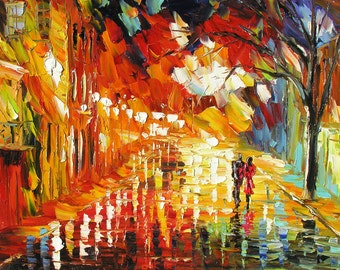 MADE2ORDER Original Oil Painting Palette Knife Handmade Cityscape Red Night Town Couple Reflections Rainy Home Office decor ART by Marchella