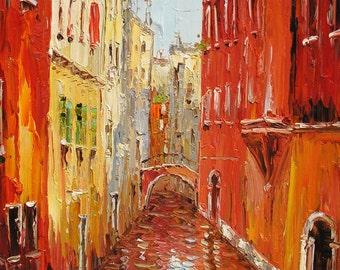 Oil Painting Palette Knife Colorful Texture big Made to ORDER Handmade home decor office Venice Canal reflections Water Red ART by Marchella