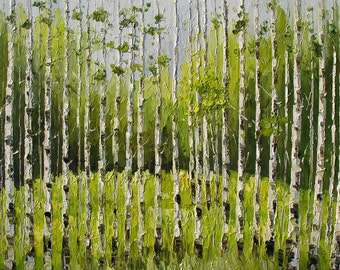 GICLEE Print on canvas Hand Embelished Colorful Landscape Forest Trees White Birch Home decor Green Wall ART by Marchella