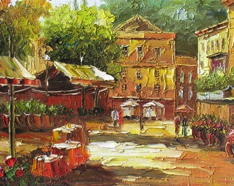 Original Oil Painting Handmade MADE to ORDER Palette Knife Street Town Texture Colorful Cafe Market Home decor european  ART by Marchella