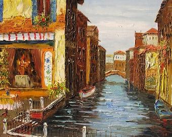 ORIGINAL Oil Painting on canvas Palette Knife Bridge Water Big Venice painting Gondola Italian 3d textured decor impasto Art by Marchella