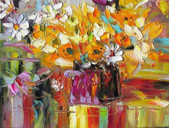 Looking at the Summer Rain 18 x 24 Original Oil Painting Palette Knife Colorful Yellow Orange Vase Bouquet Pink Flowers Reflections  by Marchella