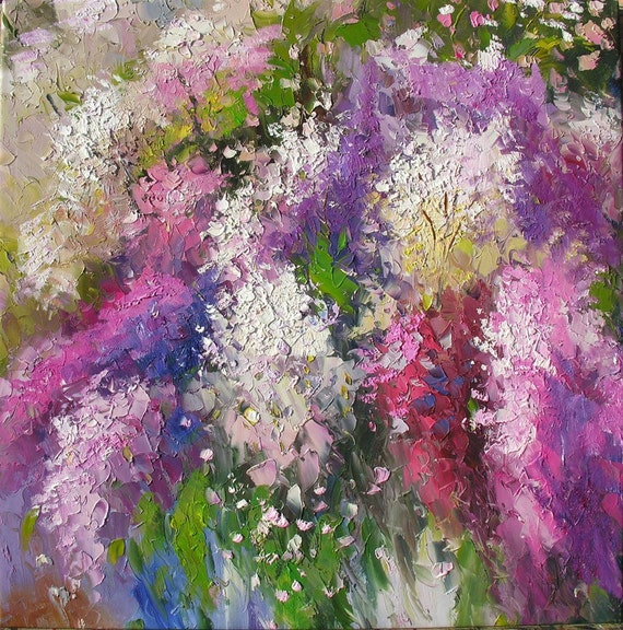 Colors of Spring 24 x 24 Original Oil Painting Colorful Flowers Purple Pink Green Spring Palette Knife by Marchella