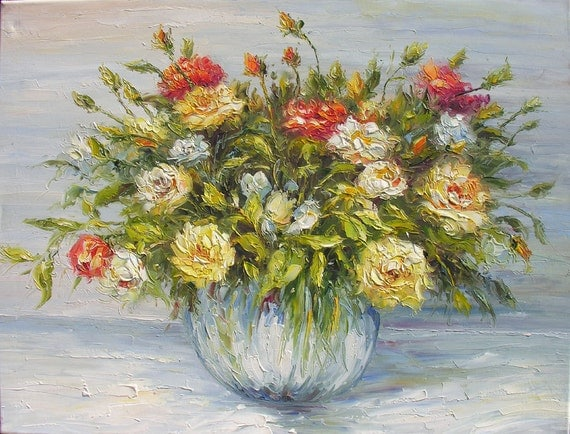 Rose Passion 23 x 30 Original Oil Painting Palette Knife Vase Bouquet Textured Colorful Pale Yellow Orange Roses  by Marchella