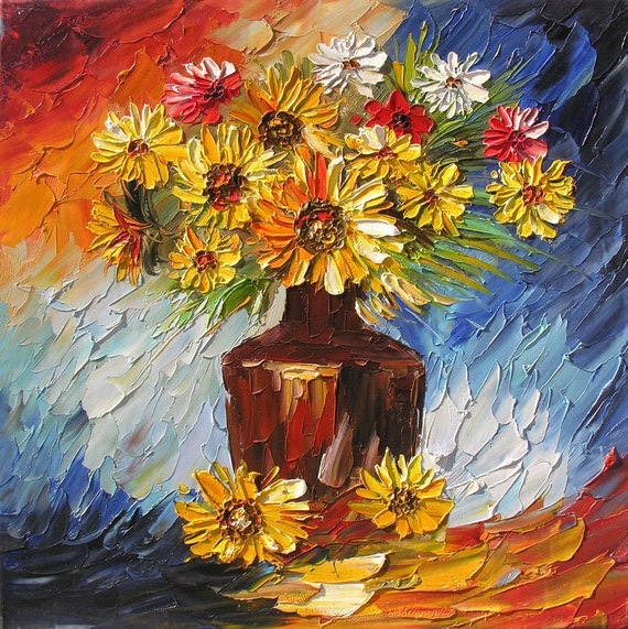 The Night Divas 24 x 24 Original Oil Painting Palette Knife Sunflowers Colorful Vase  by Marchella