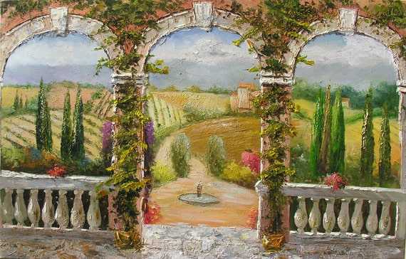 Hot Day 36 x 23 Italian Village Original Oil Painting Flowers Palette Knife Sunny Hills Countryside  Fields Arch Summer  by Marchella