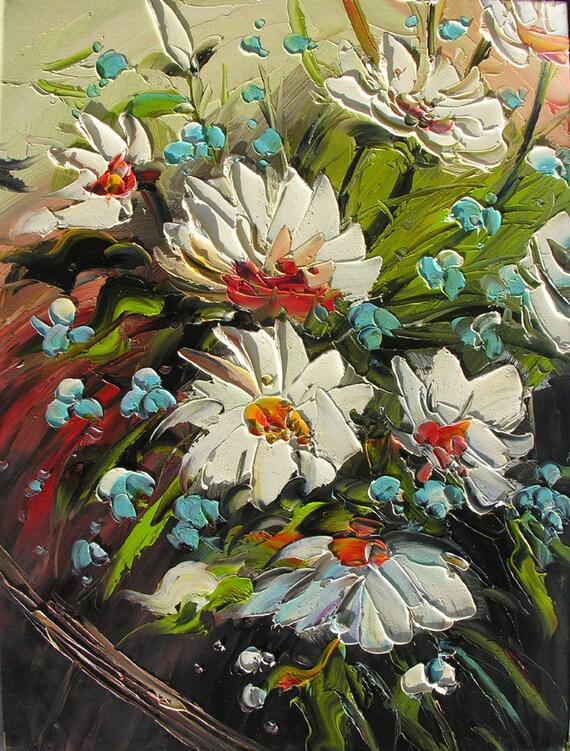 Energy 18 x 24 Original Oil Painting Palette Knife White Green Blue Flowers Daisies Vase Bouquet Arangement Textured by Marchella