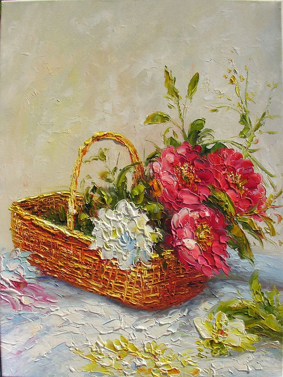 Fresh from the Garden 18 x 24 Original Oil Painting Palette Knife Red Flowers Roses Bouquet Textured by Marchella
