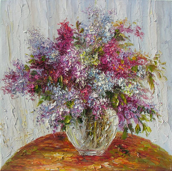 ORIGINAL Oil Painting Love in Purple 24 x 24 Colorful Flowers Purple Pink Green Spring Palette Knife by Marchella