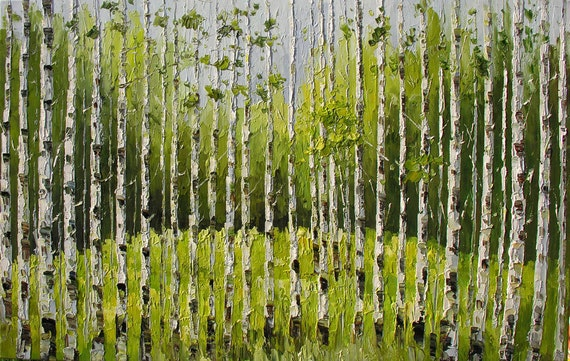 ORIGINAL Painting Oil PAlette Knife The Forest Keepers 23 x 36 Colorful Landscape Forest Trees White Birch Green Home decor ART by Marchella