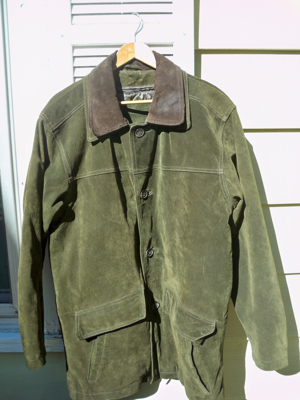 Green Suede Mens barn Fall Jacket Or Winter Coat by banjomdf