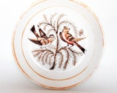 Antique English porcelain dish with birds and butterfly, early transferware and hand applied lustre paint,  rare child's dish, early 1800s