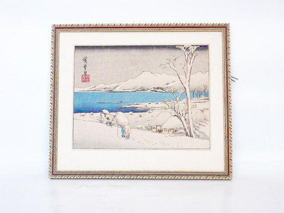 SALE Vintage Japanese woodblock print, Evening Snow at Uchikawa by Hiroshige Ando, framed - PREVIOUSLY 82.00