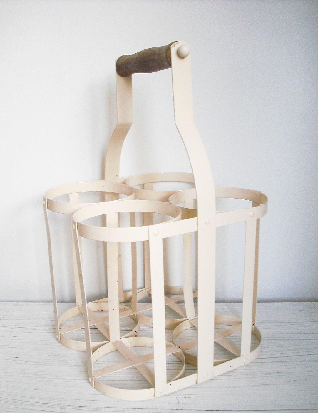 vintage french wine or milk bottle carrier 4 bottles. Black Bedroom Furniture Sets. Home Design Ideas