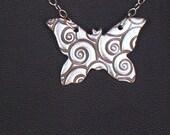 Fine Silver Butterfly Swirl Necklace