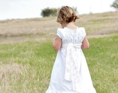 Plain White Cotton Peasant Dress Great for First Communion, Baptism, Beach Photos, and More  6 12 18 24 mo. 2 3 4 5, 6, 7, 8