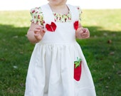 White Strawberry Cotton Knot Dress over Yellow Berries Peasant Dress Size 6 12 18 24 months 2T 3T 4 5