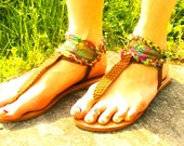 Floral Rainbow Lace and Braid Sandal size 7, 8, or 9