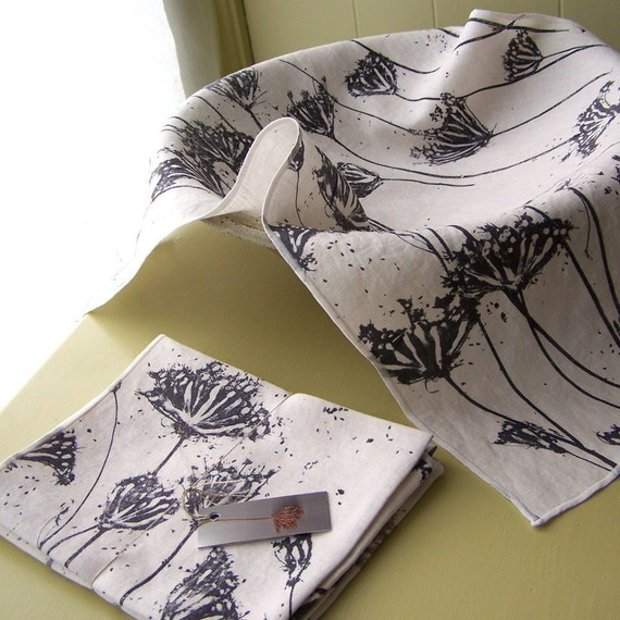 hand printed linen cotton tea towels set of 2 Queen Anne's lace