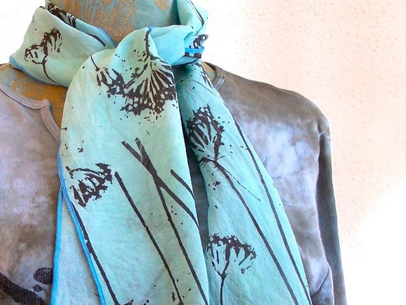 hand painted silk scarf light aqua blue with Queen Anne's lace